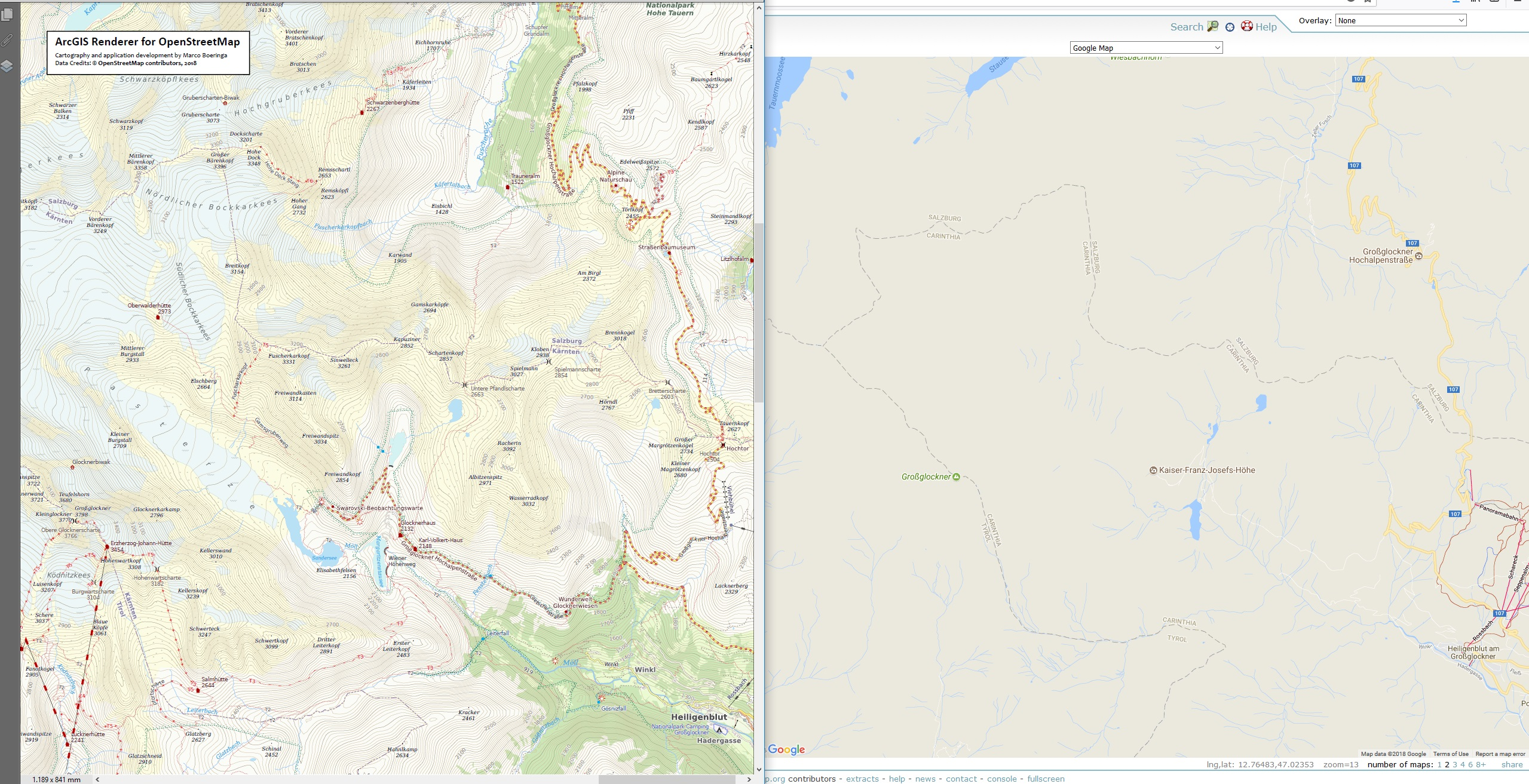 ArcGIS Renderer for OpenStreetMap - Austria - Hohe Tauern