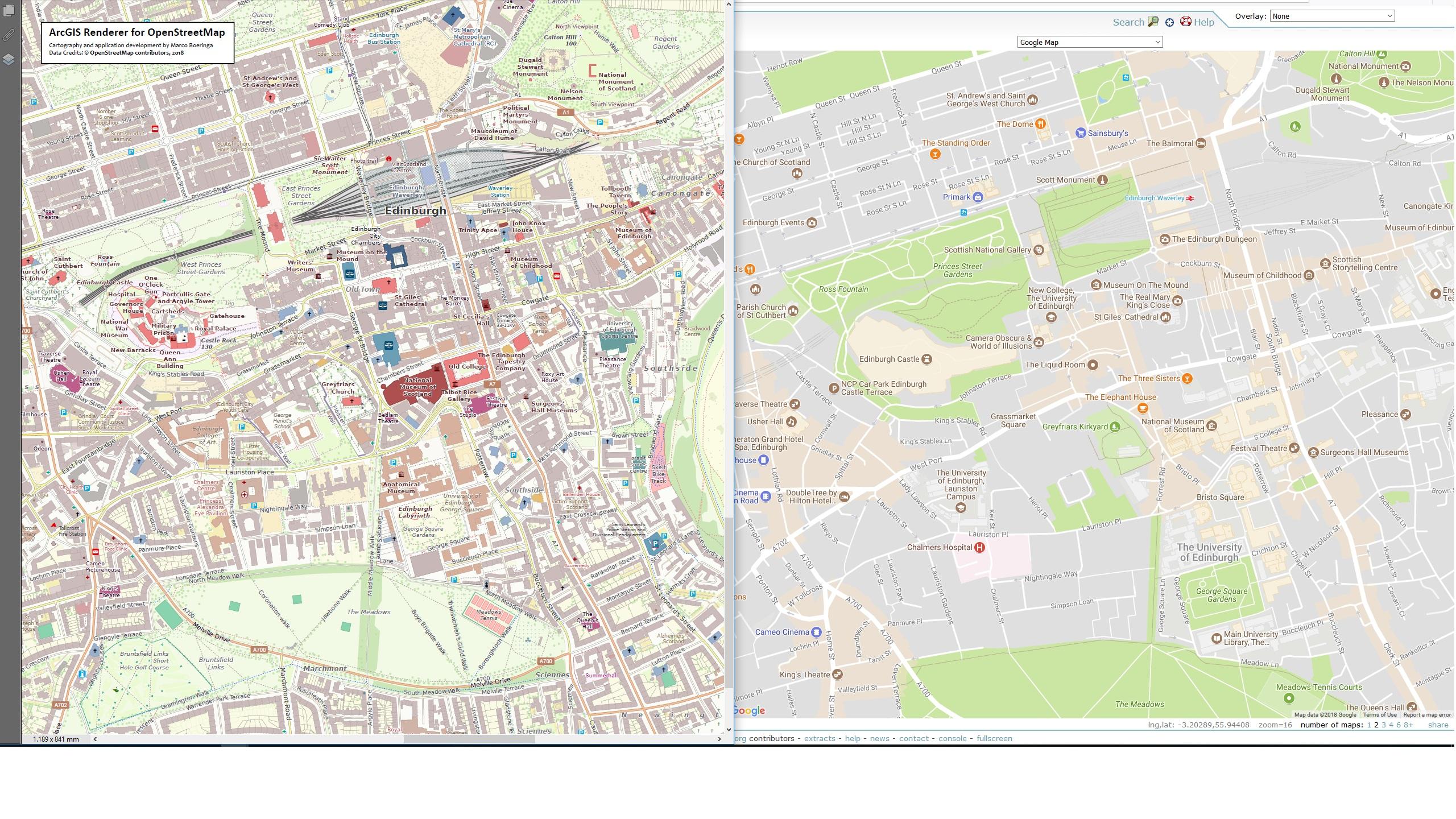 ArcGIS Renderer for OpenStreetMap - United Kingdom - Edinburgh