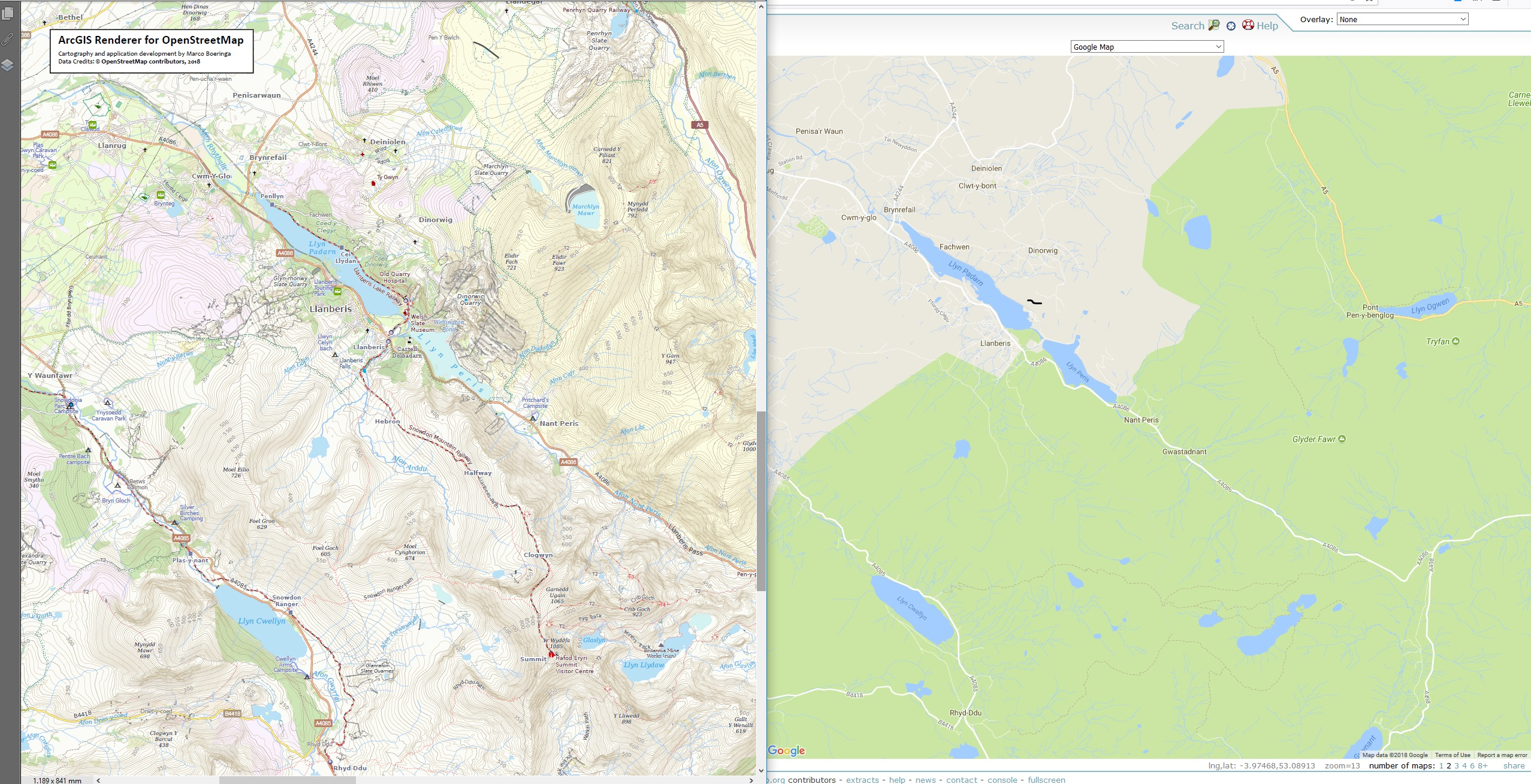 ArcGIS Renderer for OpenStreetMap - United Kingdom - Snowdonia