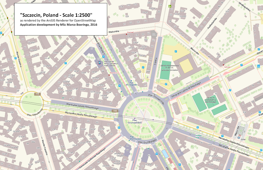 ArcGIS Renderer for OpenStreetMap - City of Szczecin, Poland, image1